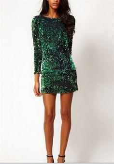 A list emerald green sequin dress