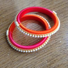 Silk Thread Earrings, Thread Bracelets, Thread Jewellery, Diy Jewellery, Jewelery, Jewelry Making, October 23, Thread Work, Gold Bangles