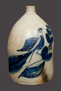 Outstanding 4 Gal. WHITE & WOOD / BINGHAMPTON Stoneware Bird Jug -- Lot 162 -- July 20, 2013 Stoneware Auction -- Crocker Farm, Inc.