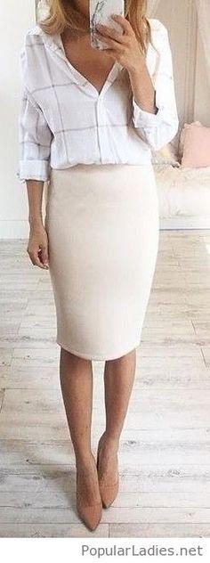 plaid-office-shirt-nude-skirt-and-stilettos