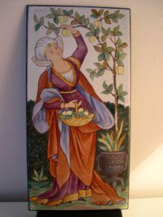 William Morris style Arts & Crafts handpainted ENAMEL plaque Lewis F Day ? c1890