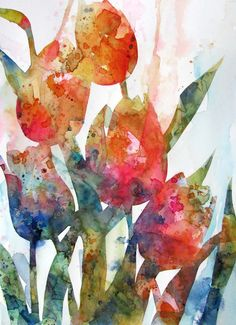 Watercolor Florals. Try similar with class.. Pour colour into pre-wet flowers, then add splashes of other colours.
