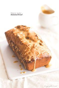 Peanut butter banana bread with glaze - hungrybrownie.com