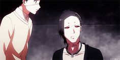 """""""You smell... unusual."""" Kaneki meets Uta for the first time, and Kaneki's face whenever another ghoul smells him is so cute.  I love Uta he's so gentle and sweet despite his appearance."""
