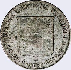 Pieza mv0.2bs-aa01 (Reverso). Moneda de Venezuela. 1/5 Bolívar. Diseño A, Tipo A. Fecha 1879, en extremo raras