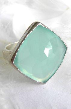 Aqua Blue Chalcedony Signature Ring