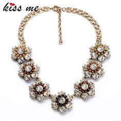 New Styles KISS ME Statement Necklace Fashion Jewelry Elegant Antique Resin Flowers Pendant Banquet Necklaces Pendants #Affiliate