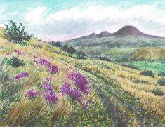 Minimax.cz - umělecký server pro všechny autory - POHLED ZE SVAHU RANÉ Watercolor Landscape, Rocks, Trees, Paintings, Mountains, Drawings, Nature, Plants, Author