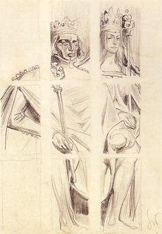 Jadwiga and Jogaila (Wladylaw Jagiello) - stained glass' sketch for Wawel Cathedral, Krakow, 1900