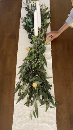 Diy Wedding Garland, Green Wedding Decorations, Diy Wedding Flowers, Marquee Wedding, Christmas Table Decorations, Decoration Table, Wedding Centerpieces, Floral Wedding, Our Wedding