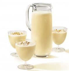 Eggnog  1. Empty two 1 Gallon Bryers French Vanilla Ice Creams into a Punch Bowl.  2. Pour 4 Cartons of Eggnog into bowl.  3.  Pour a VERY helpful serving of Bacardi Rum into bowl.  4.  Sprinkle with Cinnamon.  5.  Stir and serve.