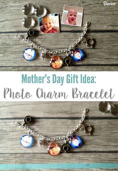 Here's a great DIY Mother's Day gift idea: A photo charm bracelet. Mom will have a jingle jangling accessory that will remind her of the people she loves!
