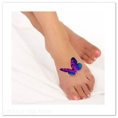 Temporary Tattoo 3D Butterflies Fake Foot Tattoo Flying Butterfly Thin Durable Realistic by UnrealInkShop on Etsy https://www.etsy.com/listing/233994901/temporary-tattoo-3d-butterflies-fake