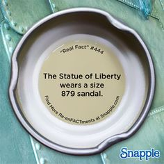 Snapple Re-enFACTments: Real Fact #444 Presented by Snapple #RealFacts #Snapple #StatueofLiberty #Liberty #LadyLiberty #sandal #shoe #shoesize