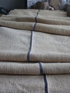 6 yds Antique Homespun Upholstery Blue Ticking Hemp by BrocanteArt