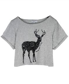 Cropped T-shirt with Flocking Deer Print