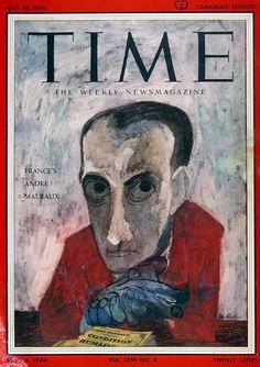1955 original vintage Time magazine cover. Featuring French artist Andre Malraux.