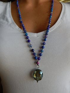 Aventurine Beads and Glass Charm. Necklace and by NOMADSTRADE