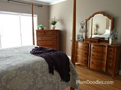 Behr Silver Pebble. Looks nice  05 Master Bedroom Tour- View from Left Side- Plum Doodles