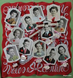 Old photos made into Valentine ornaments.
