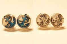 Small Anchor Pair of Stud Earrings. $10.00, via Etsy.