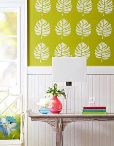 How to use chalkboard paint to create change-your-mind wallpaper by repeating stencil shapes.