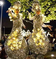 Gallery - The Silver Belles - Stilt Walkers   London   UK (1) Stilt Costume, Walkabout, Christmas Tree, Christmas Ornaments, Events, Entertaining, Make It Yourself, Holiday Decor, Party