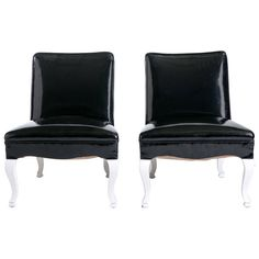 1940s Hollywood Regency Leather Chairs, Pair | From a unique collection of antique and modern slipper chairs at https://www.1stdibs.com/furniture/seating/slipper-chairs/