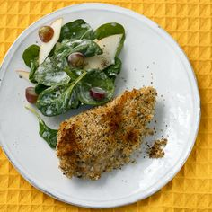 The buttermilk and honey marinade gives a delicious flavor under the crunchy chicken skin. Many of the same ingredients for the marinade go into the spinach salad dressing.