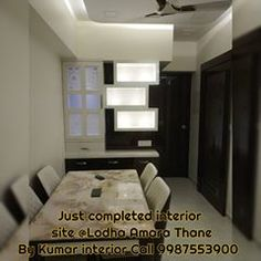 Just completed interior site of small apartment at Lodha Amara Thane by Kumar interior for more details kindly contact us call 9987553900