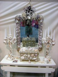 Huge Designer Grotto Shell and Coral Encrusted Baroque Distressed Mirror  #KariLobdell #Grotto