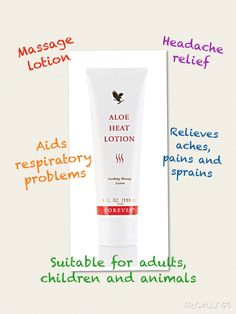 Aloe Heat Lotion Relieves aches, pains and sprains Forever Living Aloe Vera, Forever Aloe, Aloe Heat Lotion, Forever Living Business, Headache Relief, Forever Living Products, Aloe Vera Gel, Health And Wellbeing, Health And Beauty