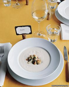 To prime everyone's palate for creative comfort food, serve a hearty, piping-hot cauliflower and roasted garlic soup garnished with cauliflower florets for your first course at Thanksgiving this year.