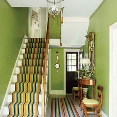 An Elegant Federal Style Country House : Architectural Digest. Stripey carpets