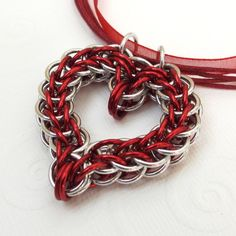 "Heart - made out of chains - (of course could be made from yarn or thread; but, how about using crochet hook, jewelry wire, and crochet ""chain stitch""?! - / B.)"