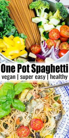 These vegan one pot spaghetti with vegetables are super delicious healthy and very easy to make They make a great vegan dinner on lazy days Find more vegan recipes at vegan veganrecipes vegetarian Vegetarian Recipes Dinner, Vegan Dinners, Healthy Dinner Recipes, Vegetarian Spaghetti, Crockpot Vegan Meals, Healthy Vegetarian Dinner Recipes, Vegetarian Sweets, Healthy Vegetable Recipes, Vegan Pasta