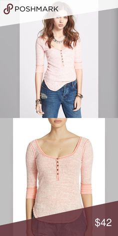 "NWT Free People We the Free fitted ribbed Henley Brand: Free People  Condition: New with Tags  Size:Small Length: 25.5"" Armpit-armpit: 15.5"" Color: pink/coral/white  Material:cotton and polyester  Care: machine wash Free People Tops Tees - Long Sleeve"