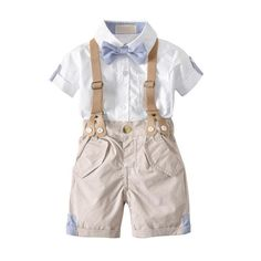 Suspenders Strap Shorts SSUPLYMY Baby Boys 2Pcs Christening Suits Plaid Shirt Tops Formal Kids Party Outfit Gentleman Bow Tie Clothing Sets