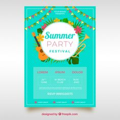 Party festival poster with plants and instruments Free Vector