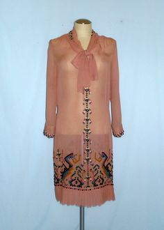 Chiffon dress with little square felt appliques for an Native American Indian look