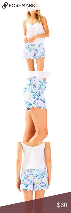 "Lilly Pulitzer buttercup short in ""oh shello"" Lilly Pulitzer 5"" buttercup scalloped shorts in print ""oh shello"". 100% cotton printed beach twill. Worn once. Lilly Pulitzer Shorts"