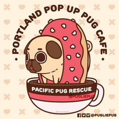 I was honoured to be offered the opportunity to create a logo design for Pacific Pug Rescue pop up pug cafe, happening February in Portland, Oregon! Clear those dates to pet and hug many puggos and enjoy some great treats all for charity! Pug Cartoon, Pug Rescue, Pusheen Cute, Pug Pictures, Tough Day, Willy Wonka, Blue Cats, Cute Panda, Drawing Practice
