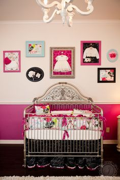 Vibrant French Provincial Baby Girl Nursery - love the framed heirloom baby outfits!