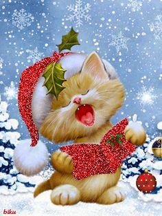 GIFS HERMOSOS: papa noel encontrado en la web Christmas Scenes, Noel Christmas, Vintage Christmas Cards, Christmas Pictures, Winter Christmas, Xmas, Christmas Kitten, Christmas Animals, Christmas Illustration