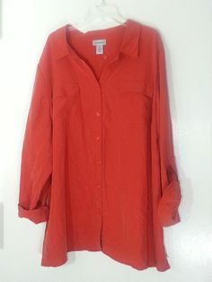 CATHERINES TOP 3X BLOUSE SHIRT 26-28 NEW PLUS SIZE ORANGE NEW ROLL TAB SLEEVE…