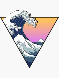 """""""Great Wave Aesthetic"""" Stickers by Zayter Aesthetic Drawing, Aesthetic Art, Aesthetic Grunge, Aesthetic Vintage, Aesthetic Anime, Aesthetic Iphone Wallpaper, Aesthetic Wallpapers, Diy Sticker, Home Bild"""