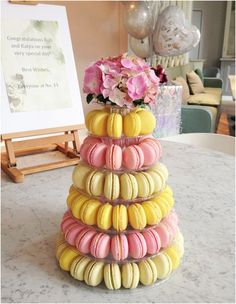 Macaroons Towers by Anges de Sucre, the steeple like sweet towers are unusual and beautiful, perfect for those on the lookout for a Wedding Cake Alternative