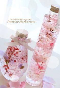 Cute Water Bottles, Flower Bottle, Sensory Bottles, Asian Love, Boho Room, Message In A Bottle, Resin Crafts, Flower Crafts, Artificial Flowers