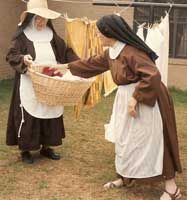 nuns hanging out laundry