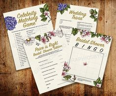 Set of Printable Floral Engagement/Bridal Shower/Wedding Games #bridalshowergames #weddinggames #floralprintablegames #weddingfloral #bridalflowers #bridalshowerbingo #priceisrightgame #celebritymatchgame #weddingtriviagame #etsy